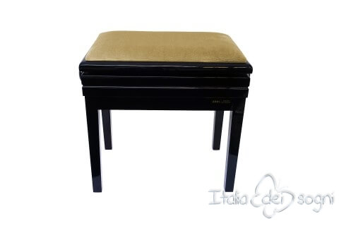 "Small Bench for Piano ""Verdi"" - hazelnut velvet"