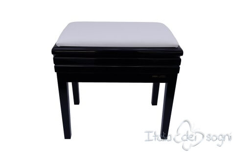 "Small Bench for Piano ""Verdi"" - real leather white"