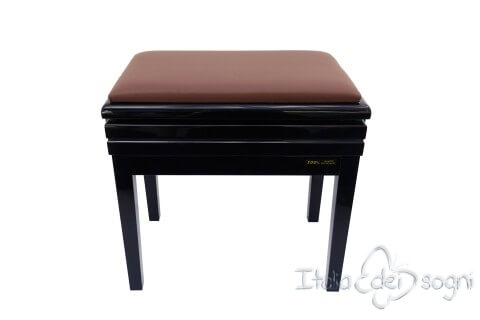 "Small Bench for Piano ""Verdi"" - real leather brown"