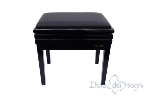 "Small Bench for Piano ""Verdi"" - real leather black"