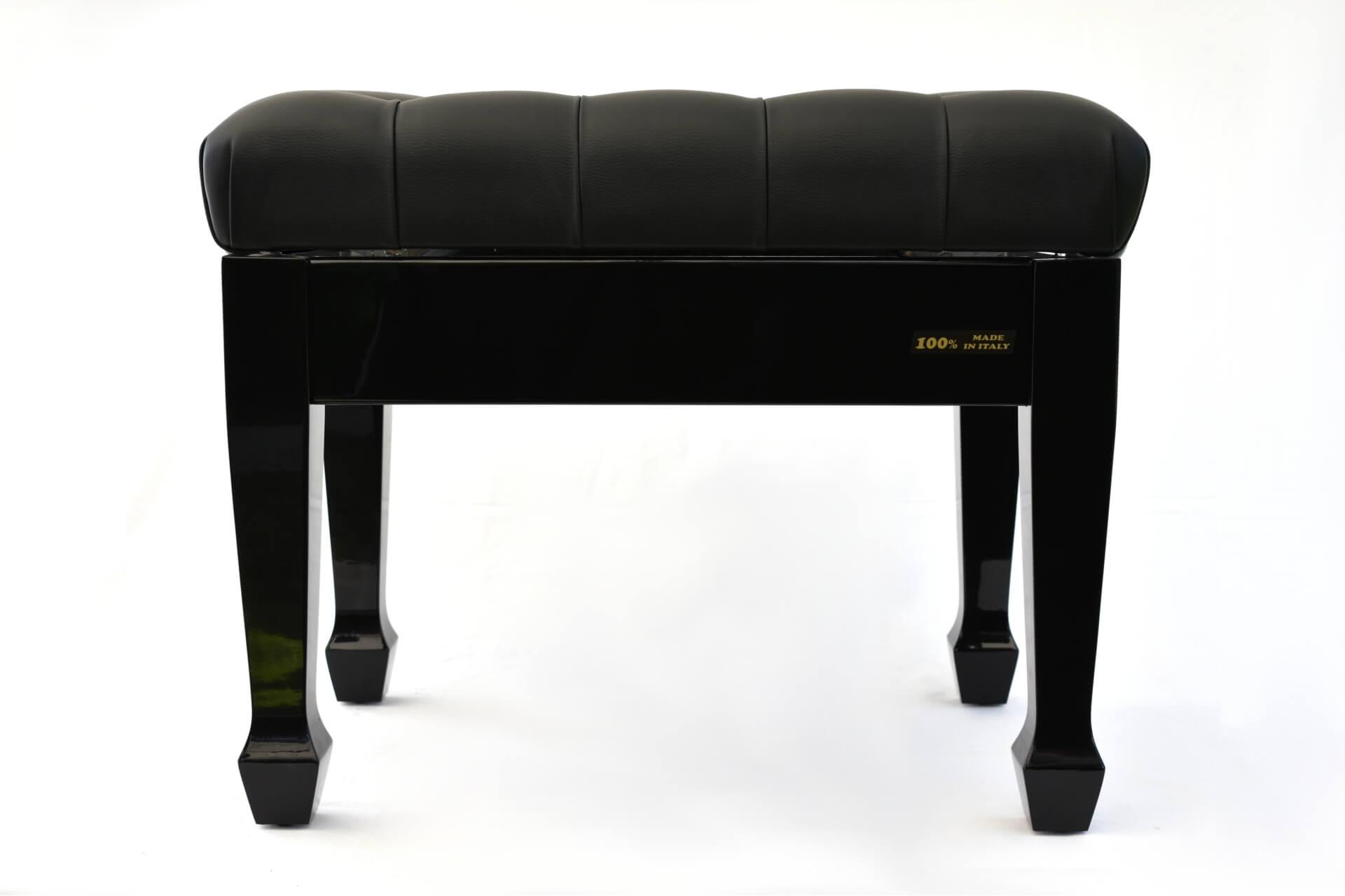 Panca per pianoforte u csalieriu d vera pelle nera colore legno nero