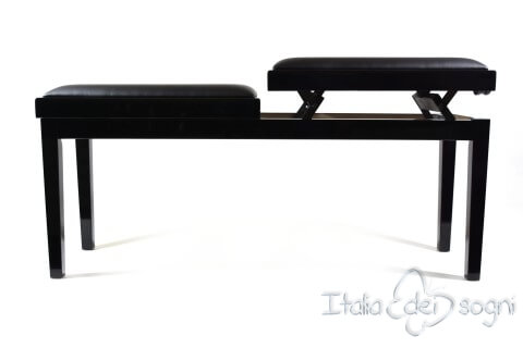 """Bench for Piano """"Mascagni"""" - real leather black"""