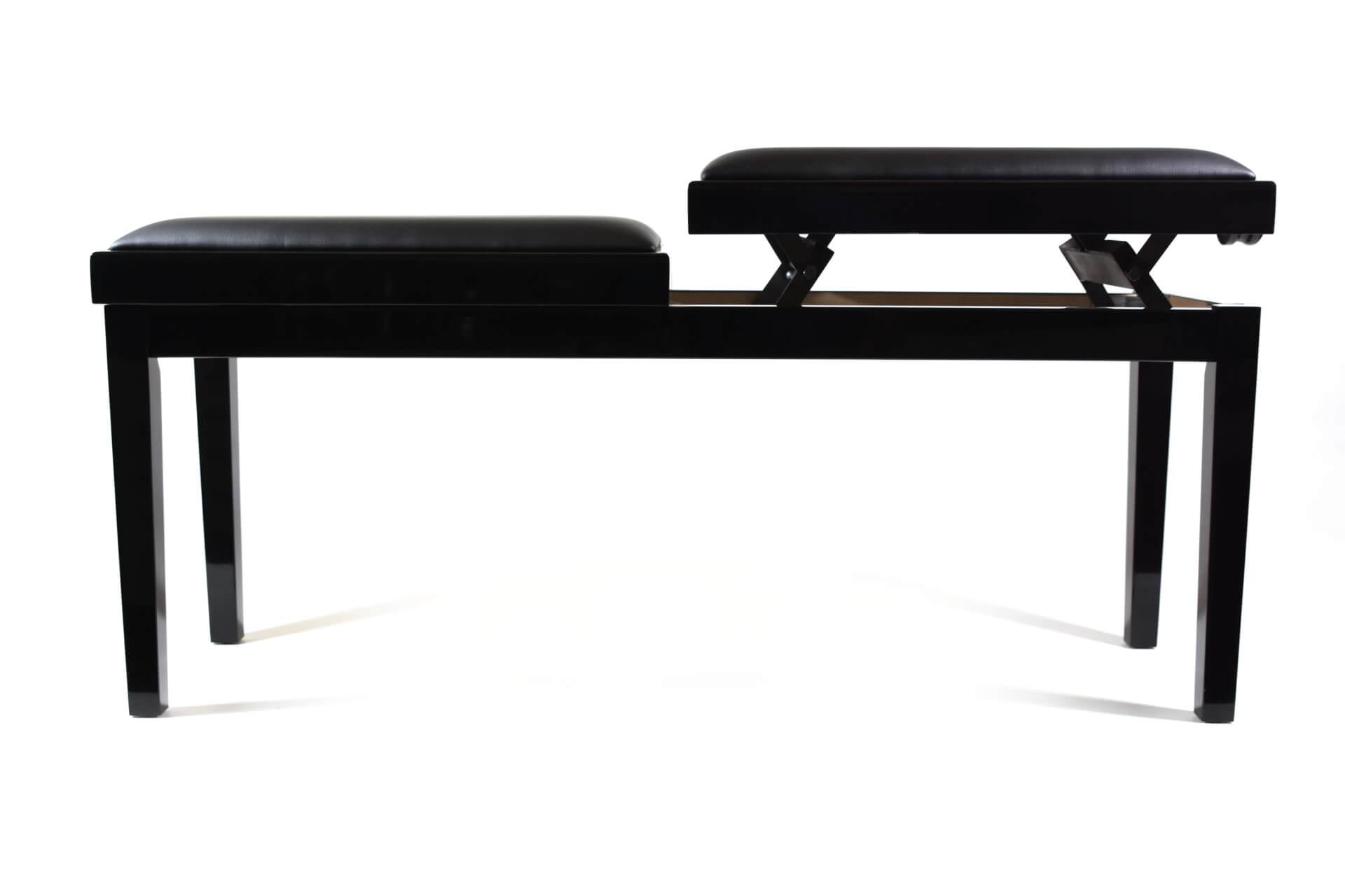 tabouret de piano double mascagni veritable cuir noir. Black Bedroom Furniture Sets. Home Design Ideas