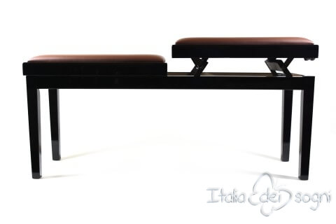 "Bench for Piano ""Mascagni"" - real leather brown"
