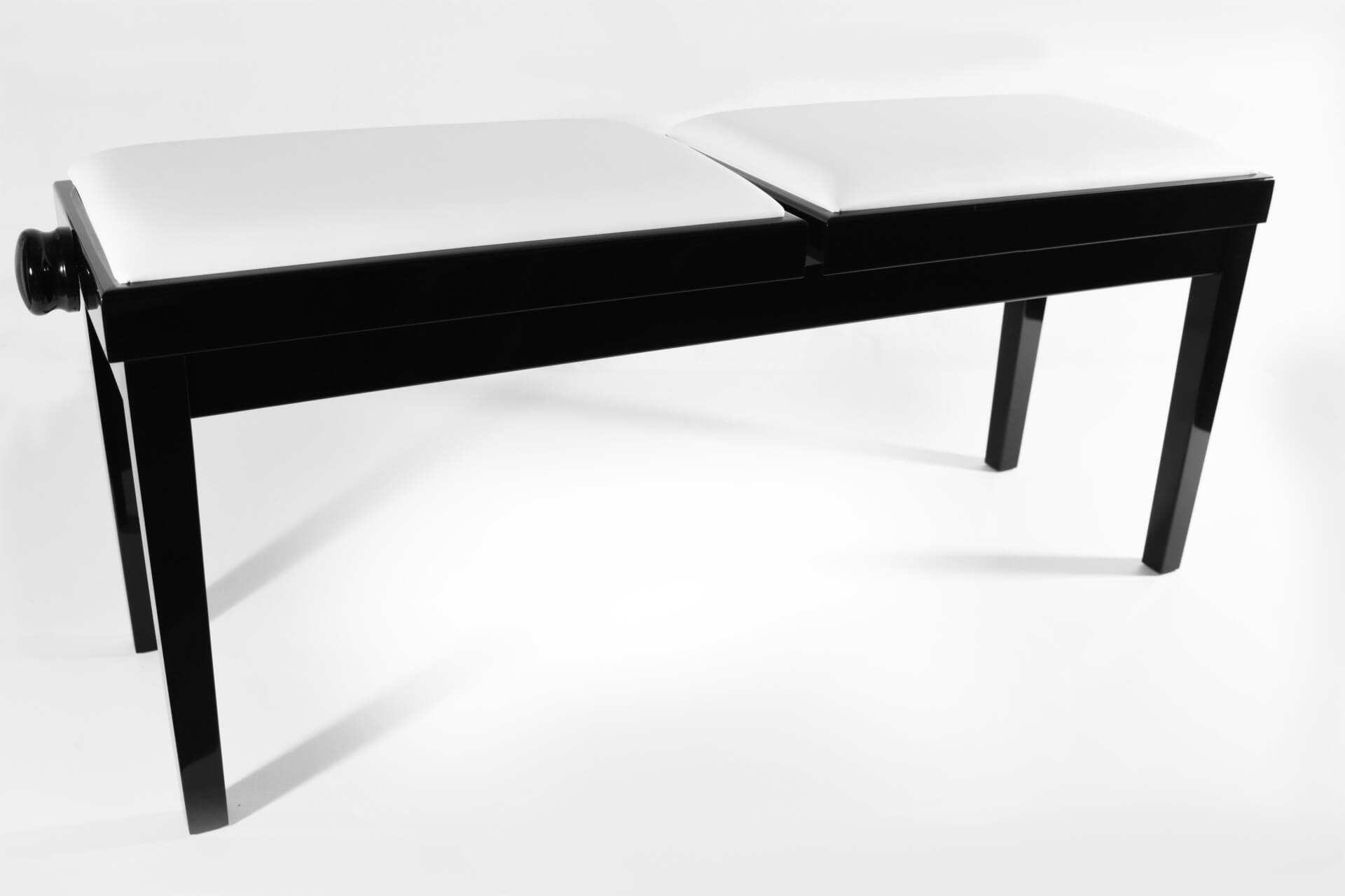 tabouret de piano double mascagni veritable cuir blanc. Black Bedroom Furniture Sets. Home Design Ideas