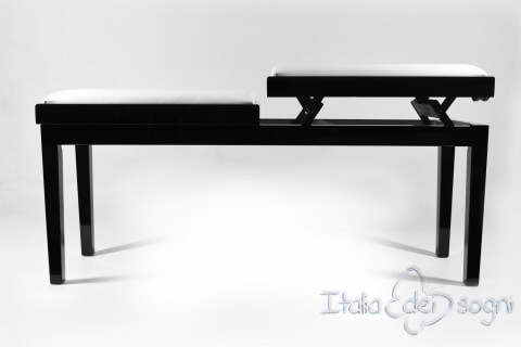 """Bench for Piano """"Mascagni"""" - real leather white"""