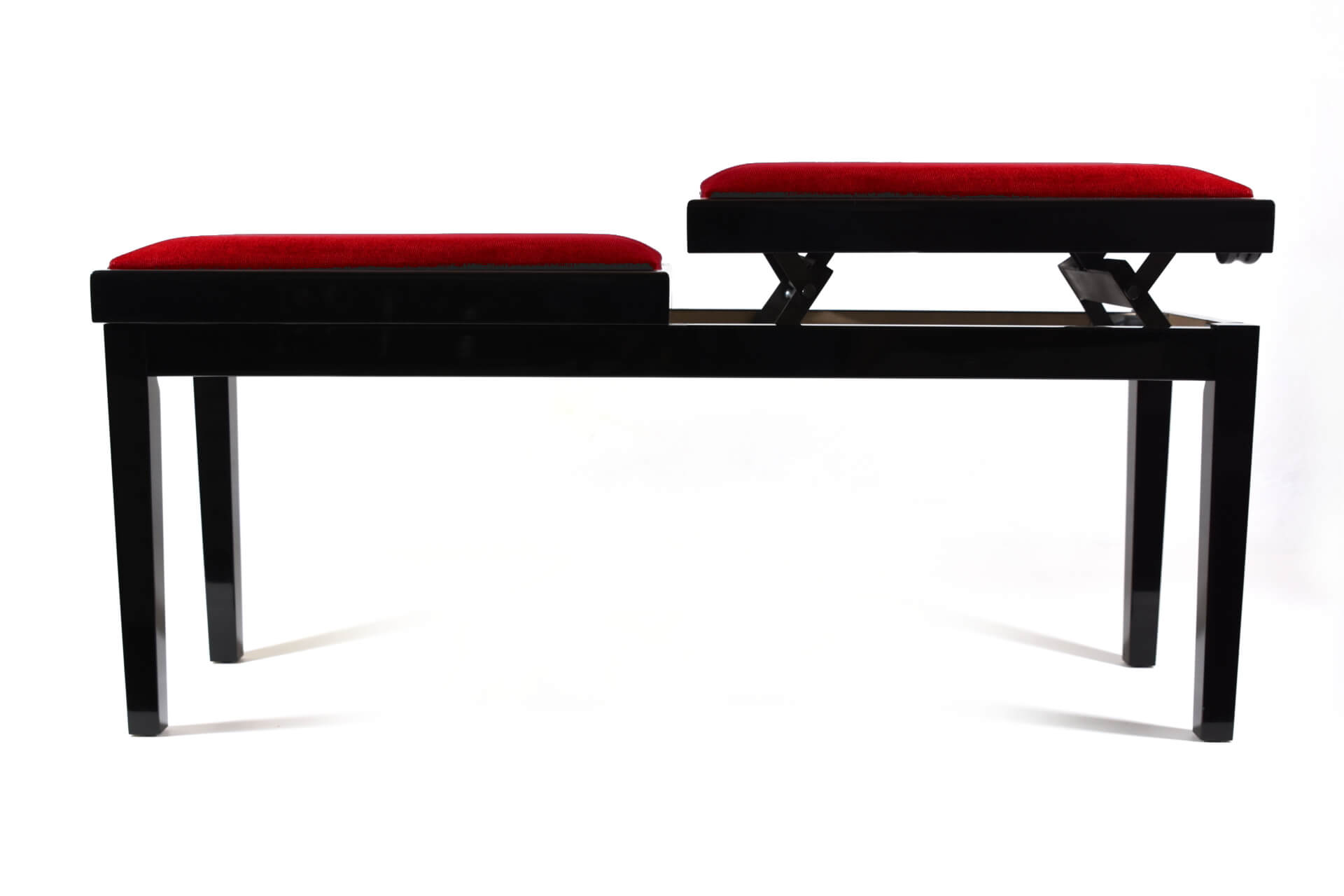 Double Small Bench For Piano Adjustable In Height Mascagni Red Velvet