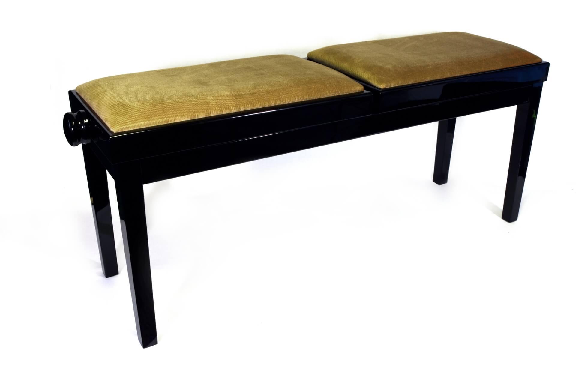 tabouret de piano double mascagni velours noisette. Black Bedroom Furniture Sets. Home Design Ideas