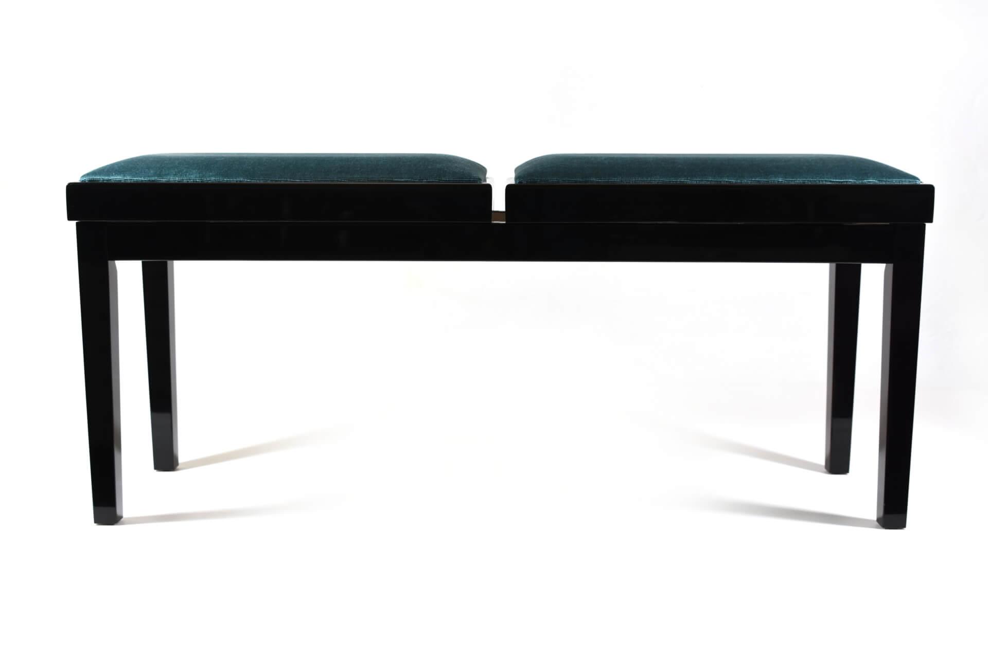 tabouret de piano double mascagni velours bleu clair. Black Bedroom Furniture Sets. Home Design Ideas