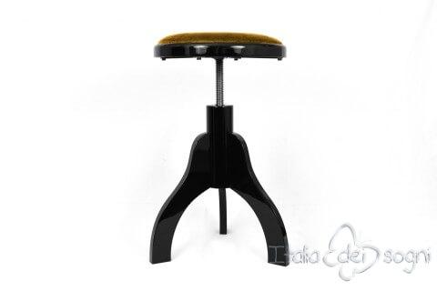 Sgabello per arpa a tre gambe u201ctartiniu201d velluto oro colore legno nero