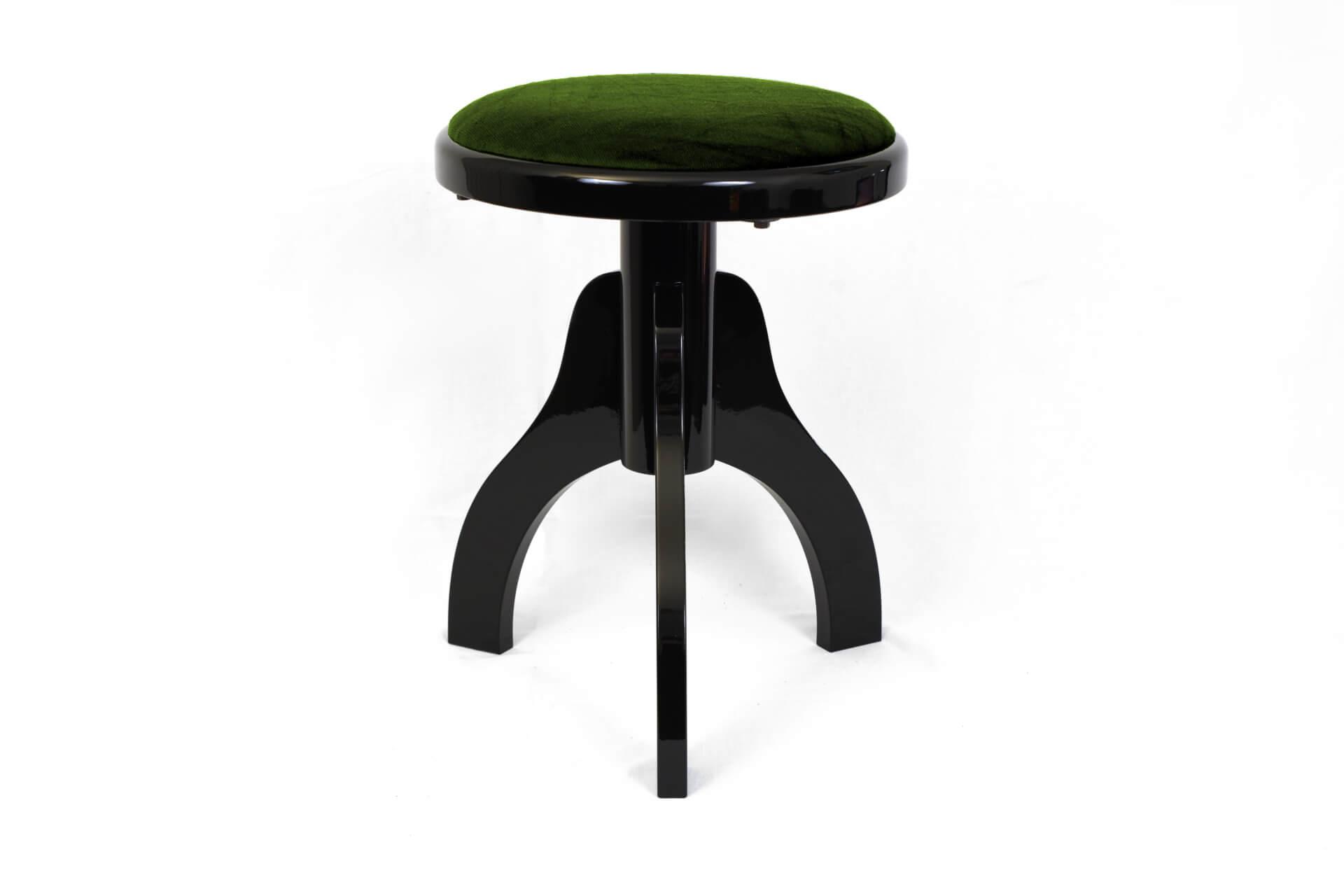 Sgabello per arpa a tre gambe u201ctartiniu201d velluto verde colore legno
