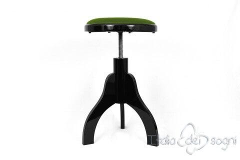 Sgabello per arpa a tre gambe u ctartiniu d velluto verde colore