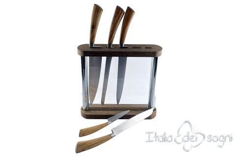 Portacoltelli cristal olivo