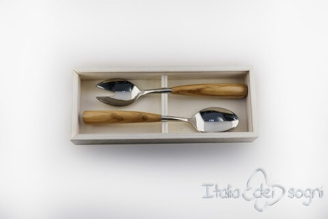salad server set, olive wood