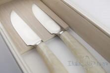 2 piece ivory Rustic steak knives