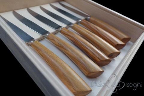 6 couteaux à steak nobile d'olivier