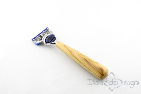 round razor, olive wood