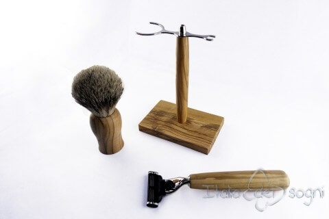 bathroom shaving set, olive wood