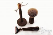 bathroom shaving set, wengè wood