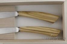 2 piece Noble steak knives, olive wood