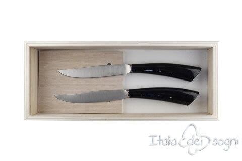 2 couteaux à steak nobile noire