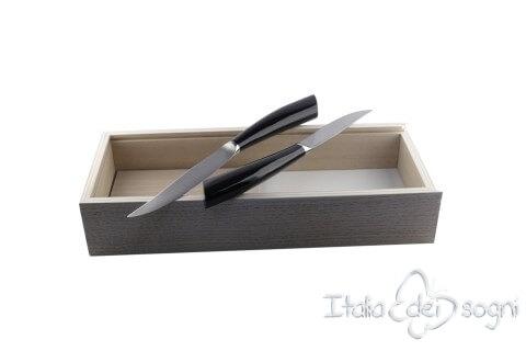 2 piece Noble steak knives, black resin