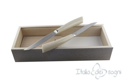2 piece Noble steak knives, ivory resin