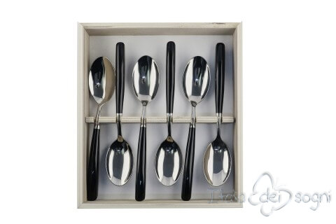 6 piece spoon set, black resin