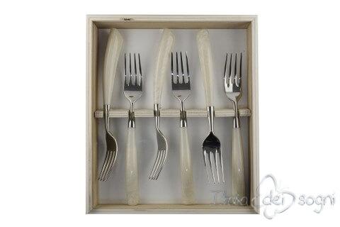 6 forchette resina avorio