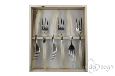 6 piece fork set, ivory resin