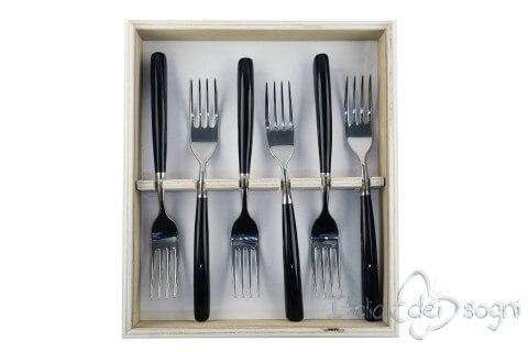 6 fourchettes en rèsine noire