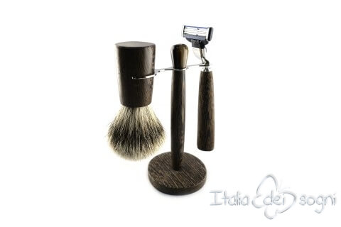 bathroom shaving set, wenge wood