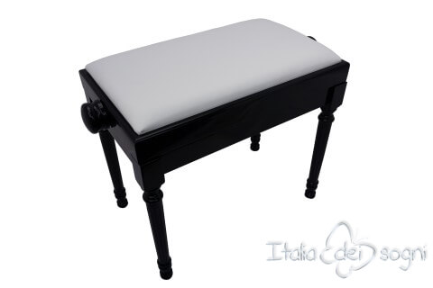 """Small Bench for Piano """"Bellini"""" - Real Leather White"""