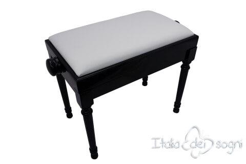 "Tamburet de Piano ""Bellini"" - Veritable Cuir Blanc"