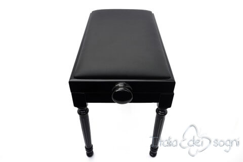 "Small Bench for Piano ""Bellini"" - Real Leather Black"