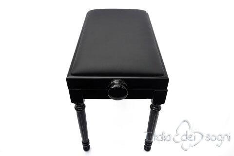 "Tamburet de Piano ""Bellini"" - Veritable Cuir Noir"