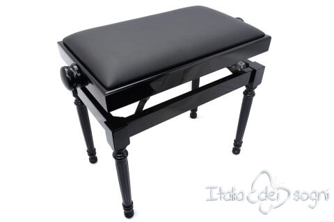 "Klavierbank ""Bellini"" - schwarz aus echtem Leder"