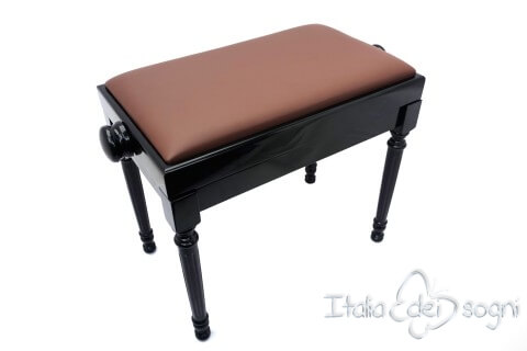 "Small Bench for Piano ""Bellini"" - Real Leather Brown"