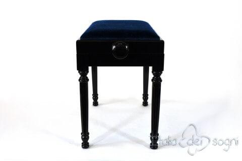 """Small Bench for Piano """"Bellini"""" - Blue Velvet"""