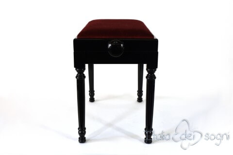 "Small Bench for Piano ""Bellini"" - Bordeaux Velvet"