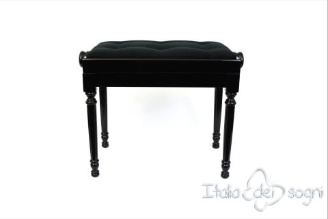 """Small Bench for Piano """"Bellini"""" - Black Velvet with Buttons"""