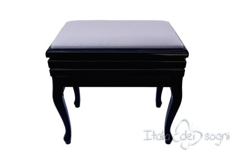 "Small Bench for Piano ""Toscanini"" - Gray Velvet"