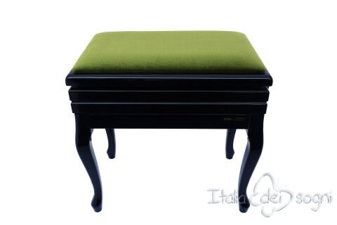 "Small Bench for Piano ""Toscanini"" - Green Velvet"