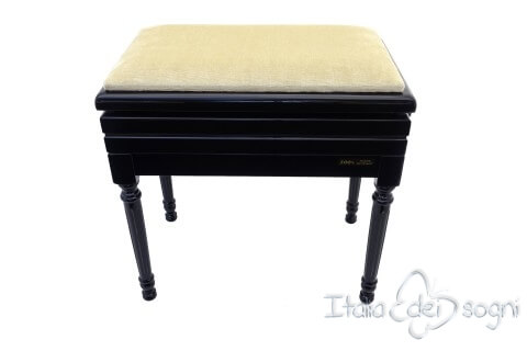 "Small Bench for Piano ""Carulli"" - Beige Velvet"