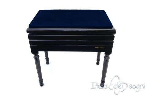 "Small Bench for Piano ""Carulli"" - Blue Velvet"