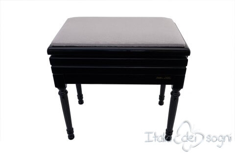 "Small Bench for Piano ""Carulli"" - Gray Velvet"