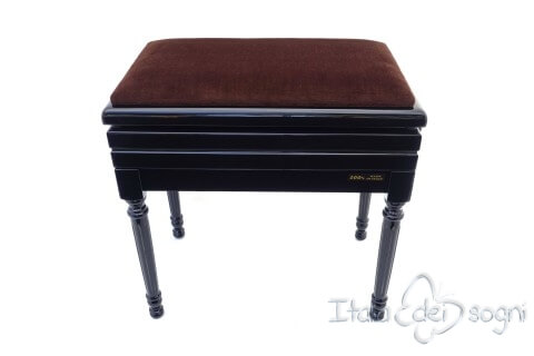 "Small Bench for Piano ""Carulli"" - Brown Velvet"