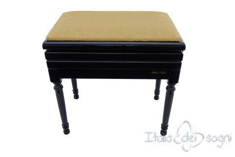 "Small Bench for Piano ""Carulli"" - Hazelnut Velvet"