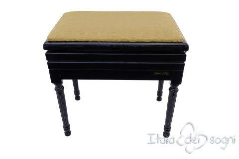 "Small Bench for Piano ""Carulli"" - Hazelnut Velvet"