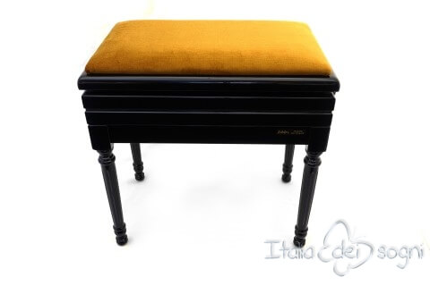 "Small Bench for Piano ""Carulli"" - Gold Velvet"